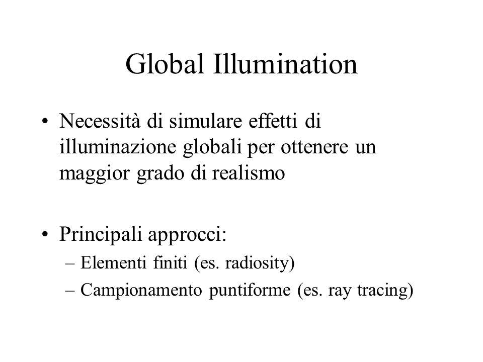 Global Illumination Necessità di simulare effetti di illuminazione globali per ottenere un maggior grado di realismo Principali approcci: –Elementi fi