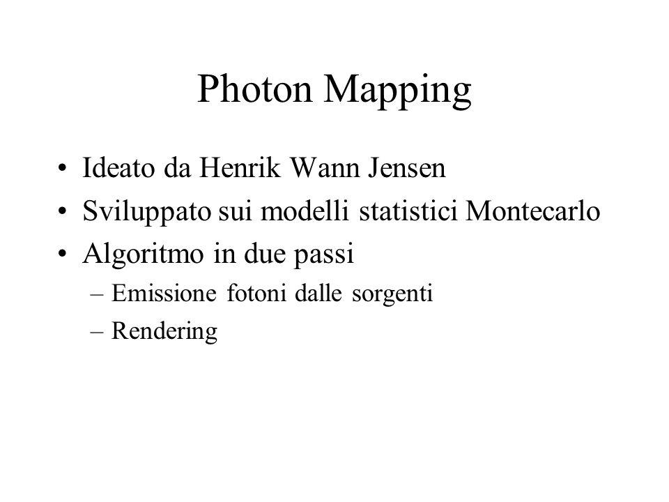 Photon Mapping Ideato da Henrik Wann Jensen Sviluppato sui modelli statistici Montecarlo Algoritmo in due passi –Emissione fotoni dalle sorgenti –Rend