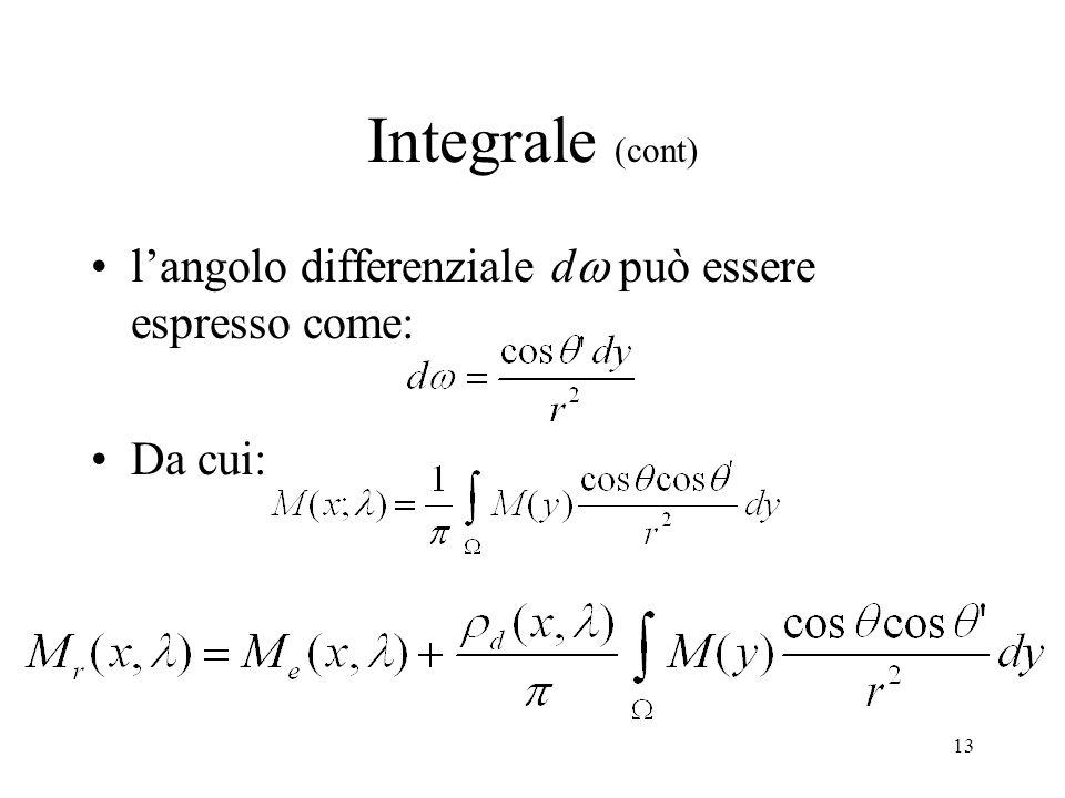 12 Integrale se il punto y è visibile da x nella direzione ( ) allora x è visibile da y nella direzione ( ) inoltre la luminanza è isotropa da cui: in