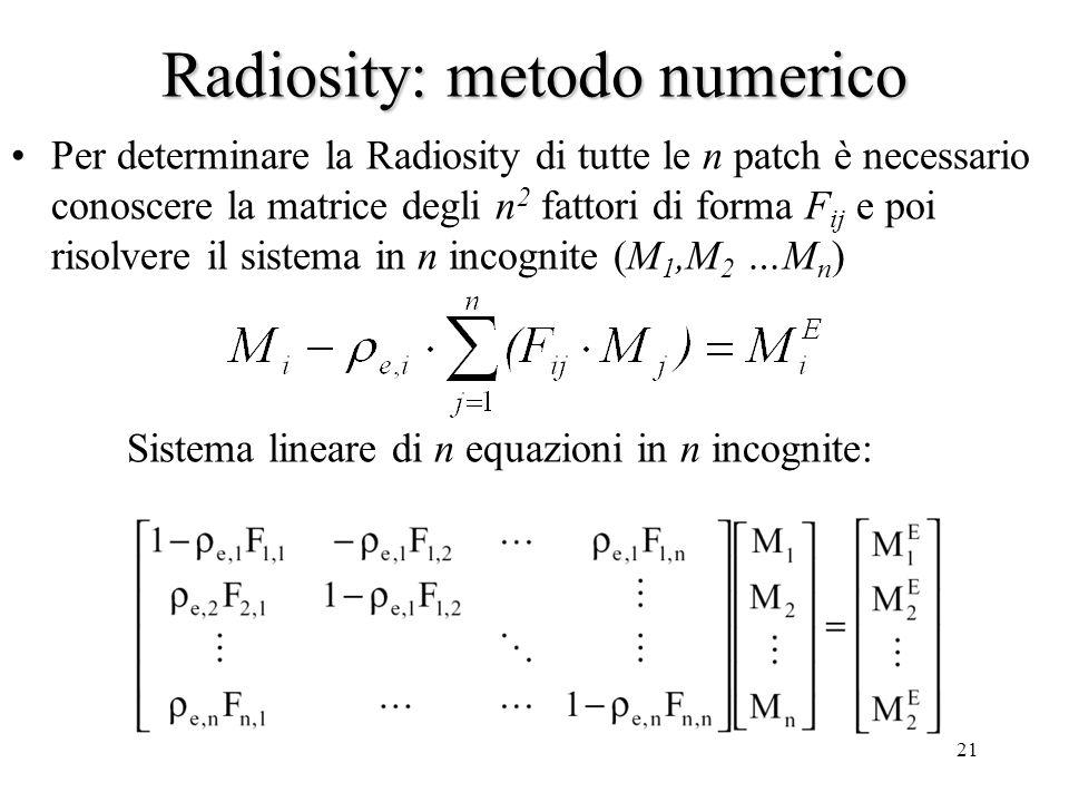 20 Radiosity: metodo numerico M i uscita radiante della patch i-esima M i E uscita radiante della patch i-esima dovuta ad emissione propria (sorgenti