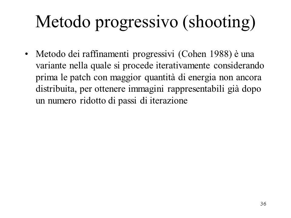 35 Radiosity: soluzione numerica del sistema La soluzione del sistema può essere fatta con metodi numerici iterativi: -Metodo di Jacobi -Metodo di Gau