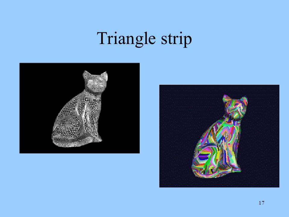 16 Flat shading di poliedri È importante sfruttare informazioni già calcolate nel passare da una faccia alla successiva Si possono organizzare i trian