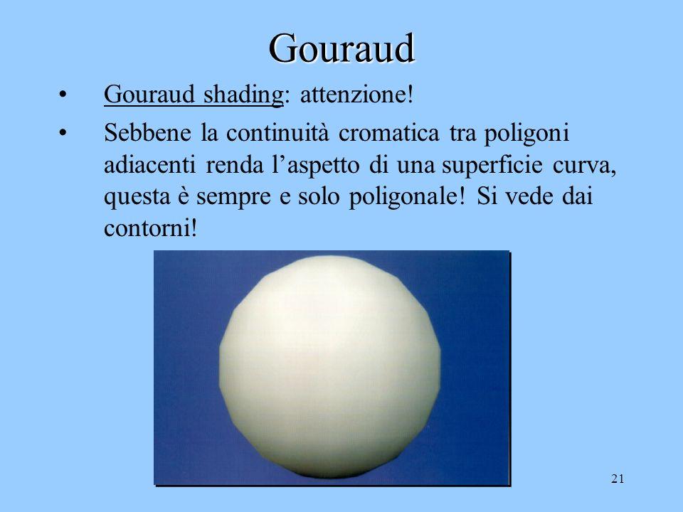 20Gouraud Gouraud shading: i poligoni vengono colorati indipendentemente dalla posizione dellosservatore Si considerano le normali alla superficie nei