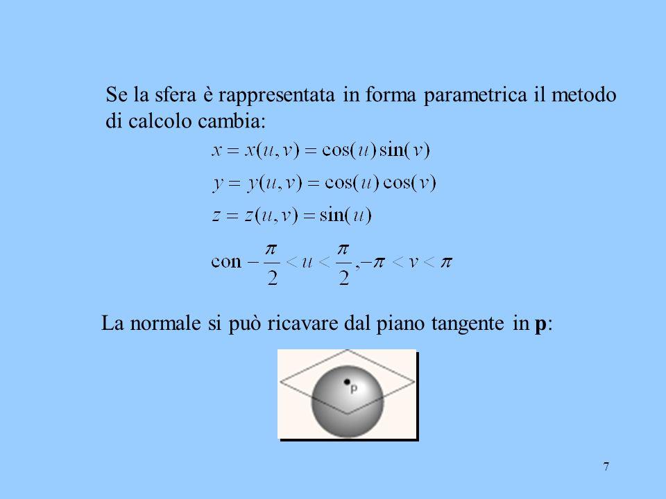 6 Il calcolo delle normali di superfici curve dipende da come la superficie è rappresentata, ma in generale si stima un gradiente. Es. sfera - equazio