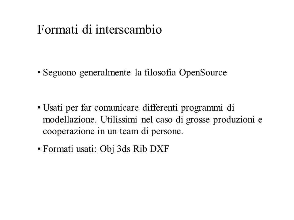 Formati di interscambio Seguono generalmente la filosofia OpenSource Usati per far comunicare differenti programmi di modellazione. Utilissimi nel cas