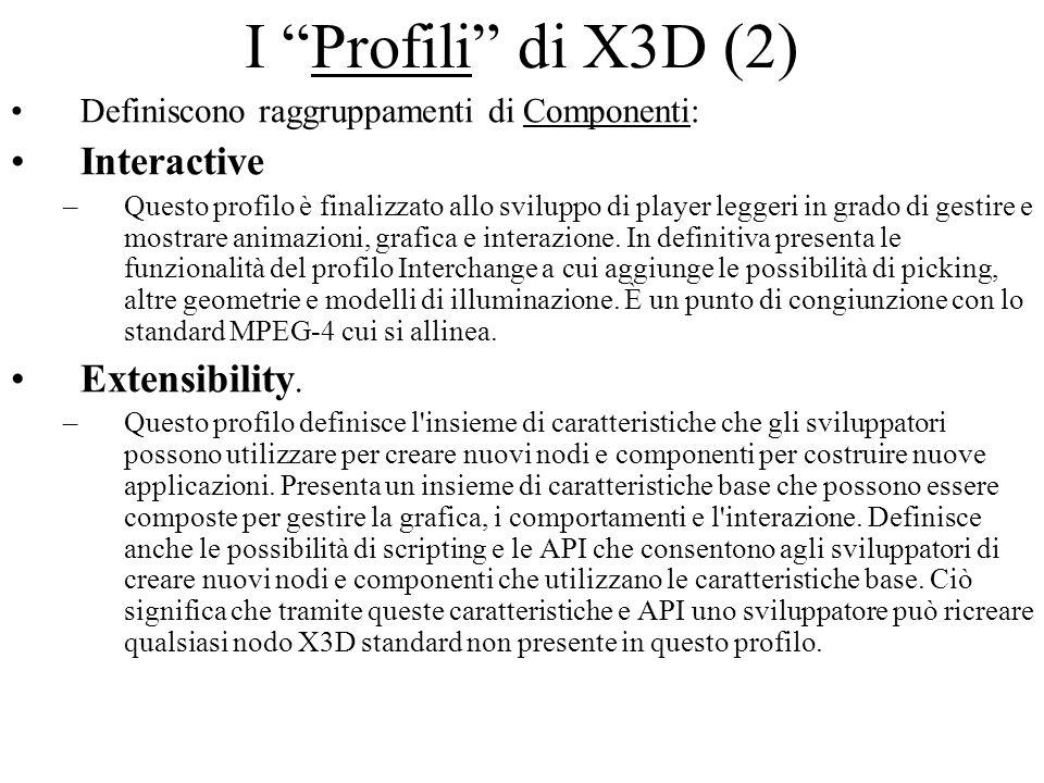 I Profili di X3D (2) Definiscono raggruppamenti di Componenti: Interactive –Questo profilo è finalizzato allo sviluppo di player leggeri in grado di g