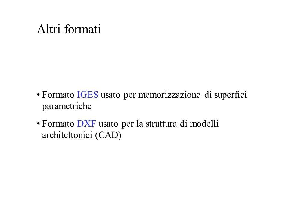 Altri formati Formato IGES usato per memorizzazione di superfici parametriche Formato DXF usato per la struttura di modelli architettonici (CAD)