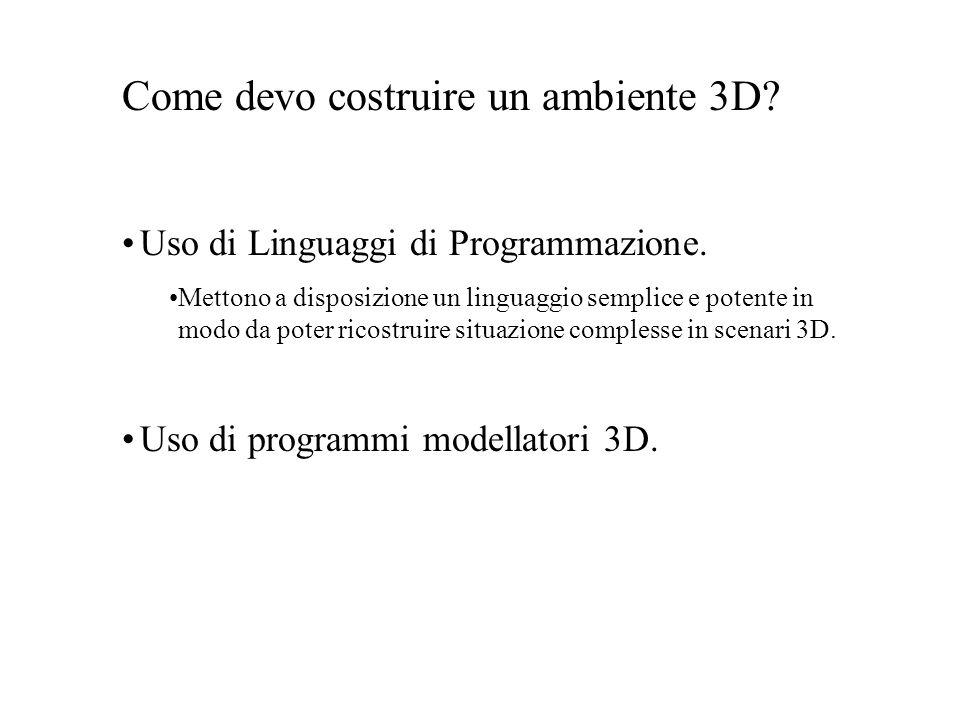 X3D (eXtensible 3D) Sviluppato dal Web3D consortium: www.web3D.org www.web3D.org Si basa su XML (eXtensible Markup Language) Standard: ISO/IEC 19775:2004 Nasce per migliorare la specifica VRML97 Limiti principali di VRML97: –Peso del Plug-in nel browser –Non sfrutta le estensioni 3D delle nuove GPU –Non consente estensioni al suo standard