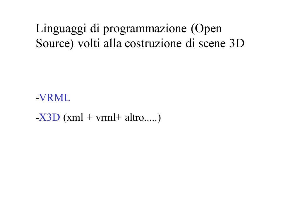 Linguaggi di programmazione (Open Source) volti alla costruzione di scene 3D -VRML -X3D (xml + vrml+ altro.....)