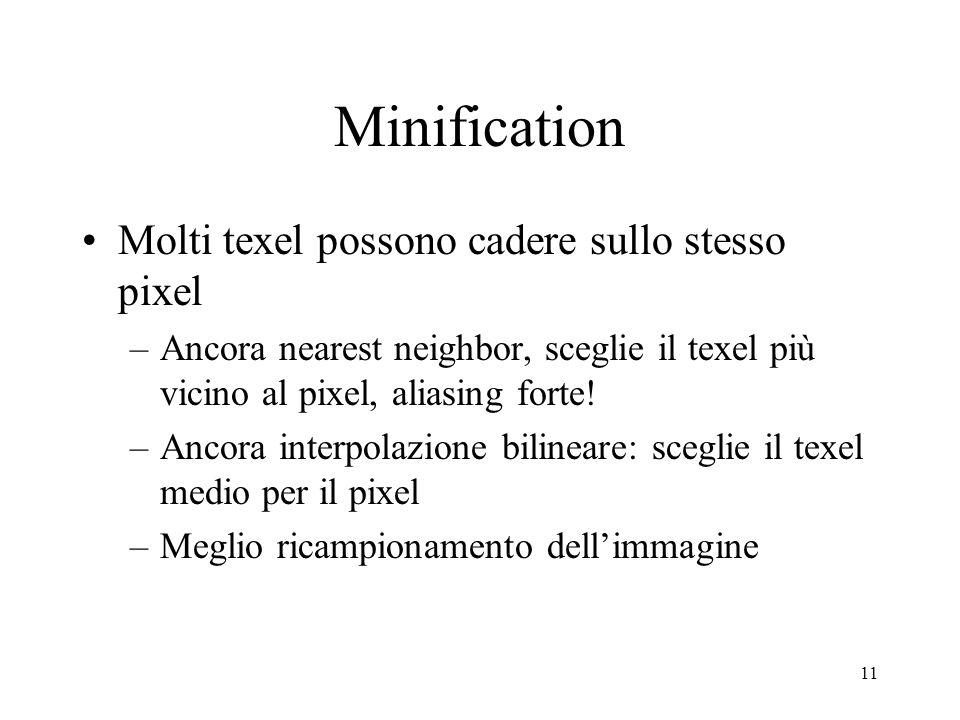 11 Minification Molti texel possono cadere sullo stesso pixel –Ancora nearest neighbor, sceglie il texel più vicino al pixel, aliasing forte! –Ancora