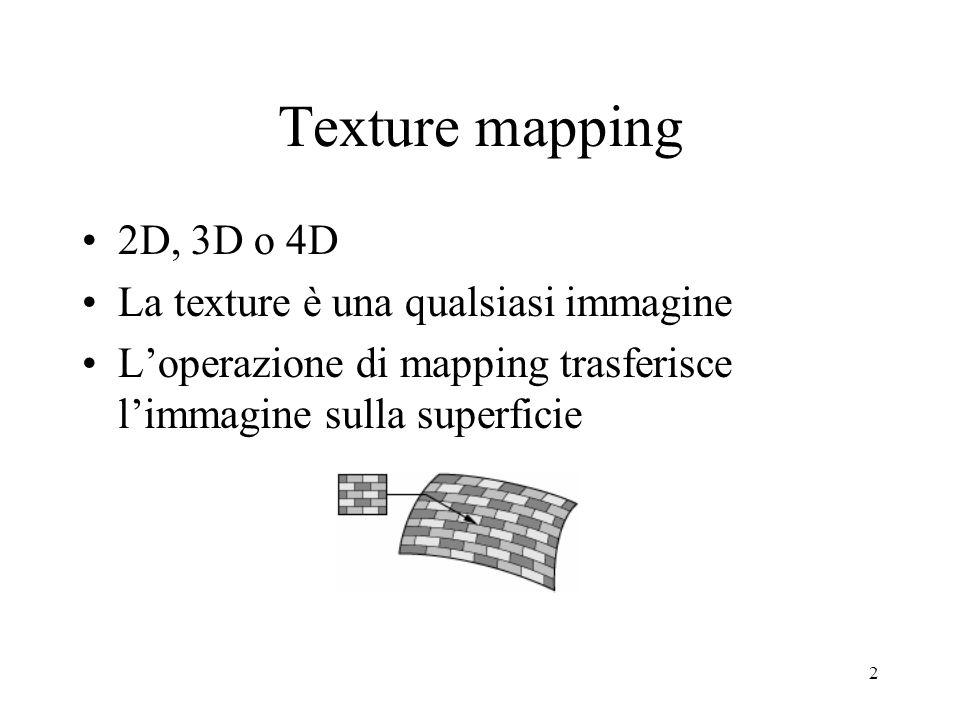 3 Pipe-line di texturing Calcola posizione nello spazio mondo Usa una funzione di proiezione MAPPING Usa una funzione di corrispondenza Applica funzione di trasformazione dei valori Modifica valore di illuminazione (x,y,z) Es: proiezione ortografica (proiettare una slide) (u,v) in (0,1) Da (0,1) a es.