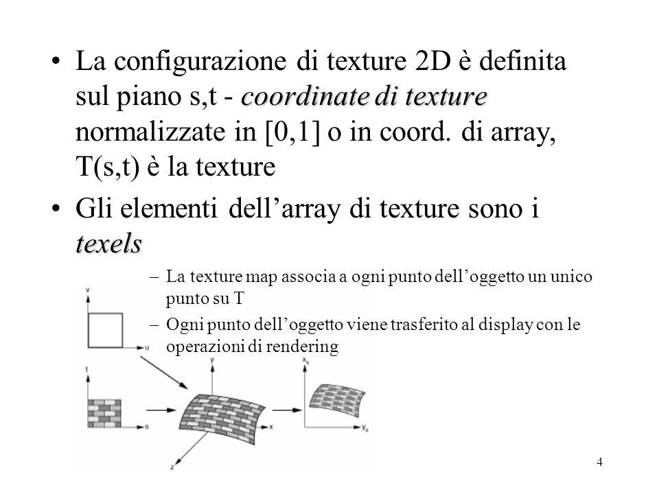 4 coordinate di textureLa configurazione di texture 2D è definita sul piano s,t - coordinate di texture normalizzate in [0,1] o in coord. di array, T(