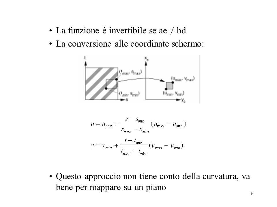 7 Funzioni di corrispondenza Altre funzioni di corrispondenza possono essere: –Wrap, repeat, tile: limmagine viene ripetuta come una piastrella –Mirror: limmagine viene ripetuta riflettendola verticalmente o orizzontalmente –Clamp: i valori esterni a (0,1) sono forzati agli estremi, il bordo dellimmagine si prolunga su tutta la superficie –Border: i valori esterni a (0,1) sono resi con un colore proprio, va bene per decalcomanie