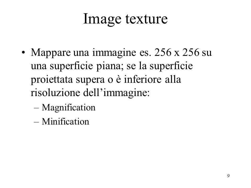 9 Image texture Mappare una immagine es. 256 x 256 su una superficie piana; se la superficie proiettata supera o è inferiore alla risoluzione dellimma