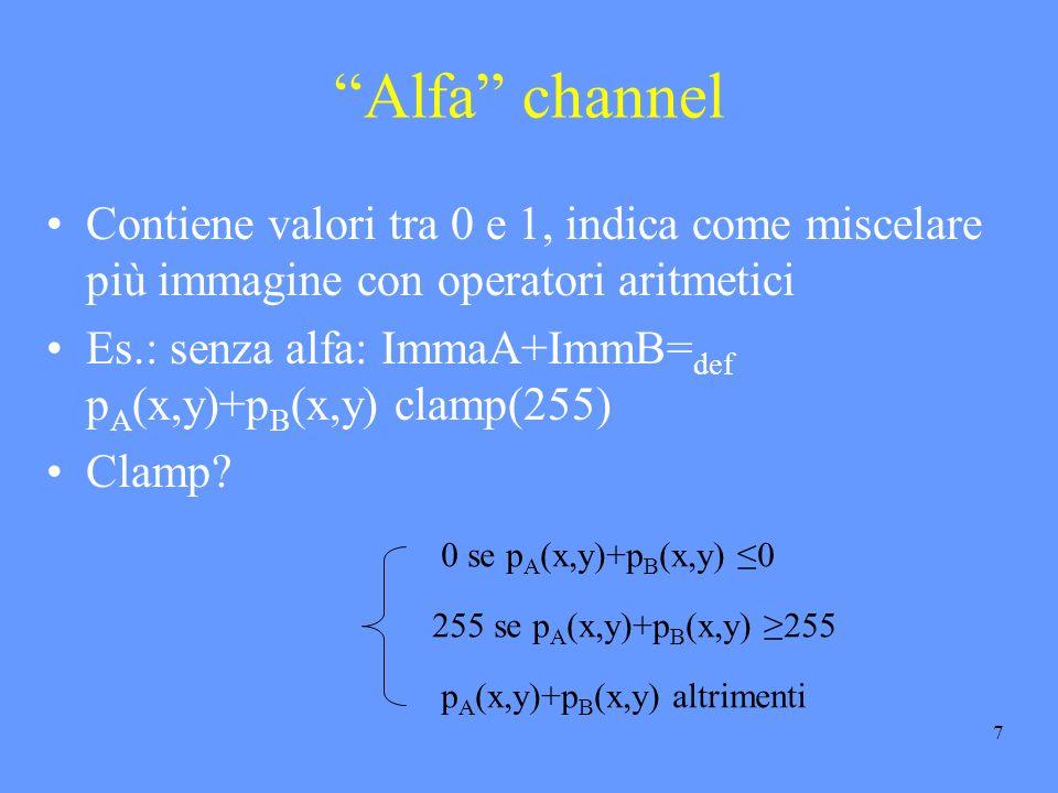 7 Alfa channel Contiene valori tra 0 e 1, indica come miscelare più immagine con operatori aritmetici Es.: senza alfa: ImmaA+ImmB= def p A (x,y)+p B (x,y) clamp(255) Clamp.