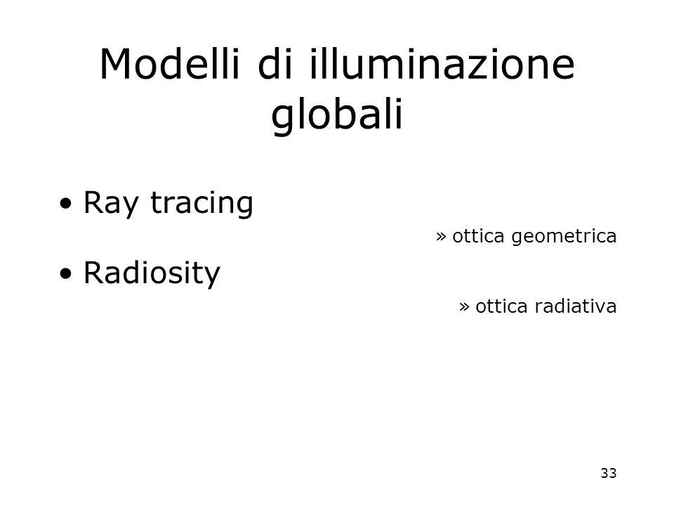 33 Modelli di illuminazione globali Ray tracing »ottica geometrica Radiosity »ottica radiativa