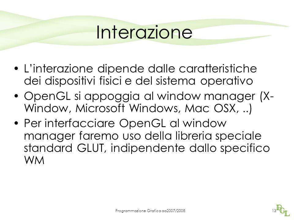 Programmazione Grafica aa2007/200813 Interazione Linterazione dipende dalle caratteristiche dei dispositivi fisici e del sistema operativo OpenGL si a