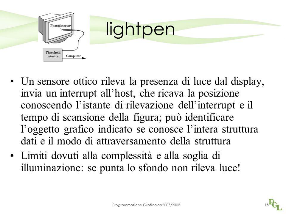Programmazione Grafica aa2007/200818 lightpen Un sensore ottico rileva la presenza di luce dal display, invia un interrupt allhost, che ricava la posi