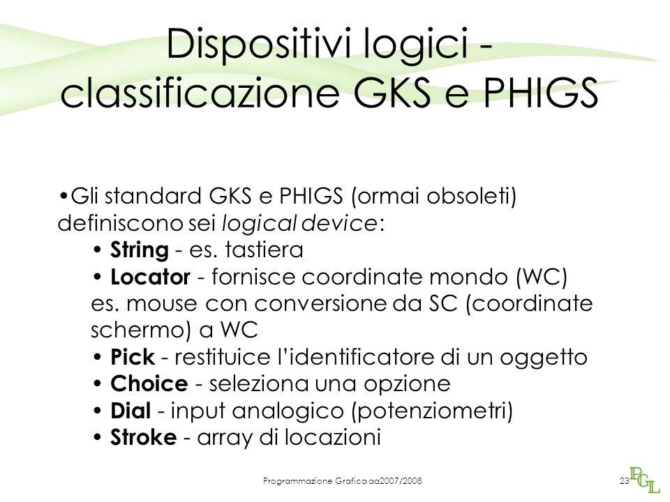 Programmazione Grafica aa2007/200823 Dispositivi logici - classificazione GKS e PHIGS Gli standard GKS e PHIGS (ormai obsoleti) definiscono sei logica