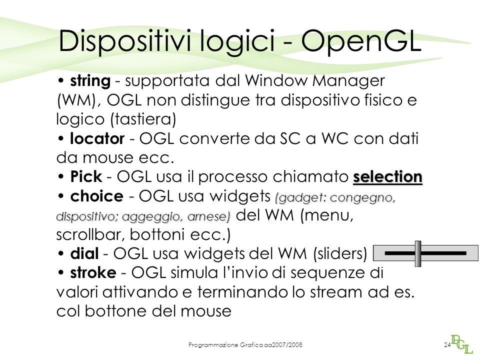 Programmazione Grafica aa2007/200824 Dispositivi logici - OpenGL string - supportata dal Window Manager (WM), OGL non distingue tra dispositivo fisico