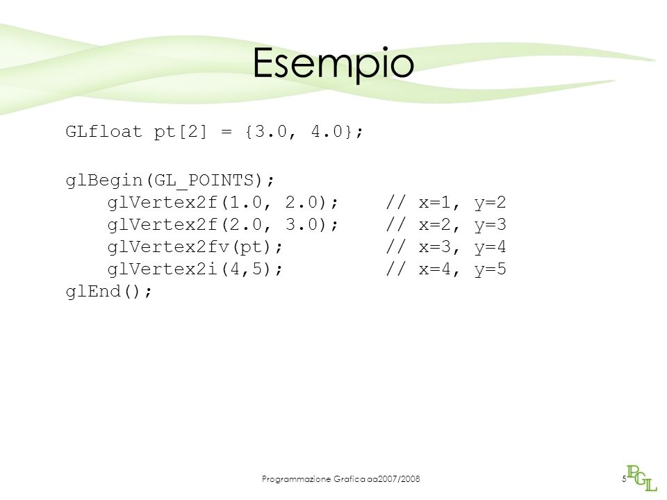 Programmazione Grafica aa2007/20086 Primitive e oggetti complessi Gli oggetti complessi vengono costruiti a partire dagli elementi di base Tipicamente OpenGL visualizza gli oggetti definiti per mezzo di strumenti avanzati