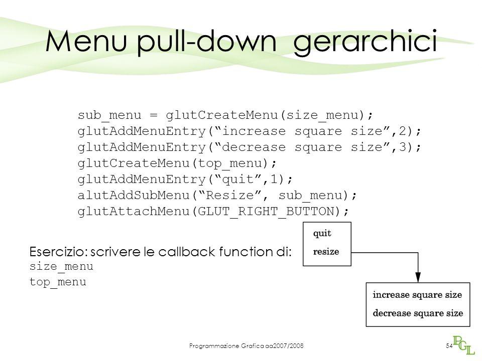 Programmazione Grafica aa2007/200854 Menu pull-down gerarchici sub_menu = glutCreateMenu(size_menu); glutAddMenuEntry(increase square size,2); glutAdd