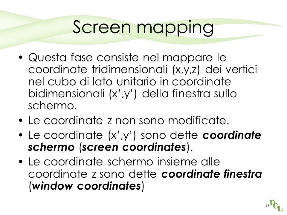 15 Screen mapping Questa fase consiste nel mappare le coordinate tridimensionali (x,y,z) dei vertici nel cubo di lato unitario in coordinate bidimensionali (x,y) della finestra sullo schermo.