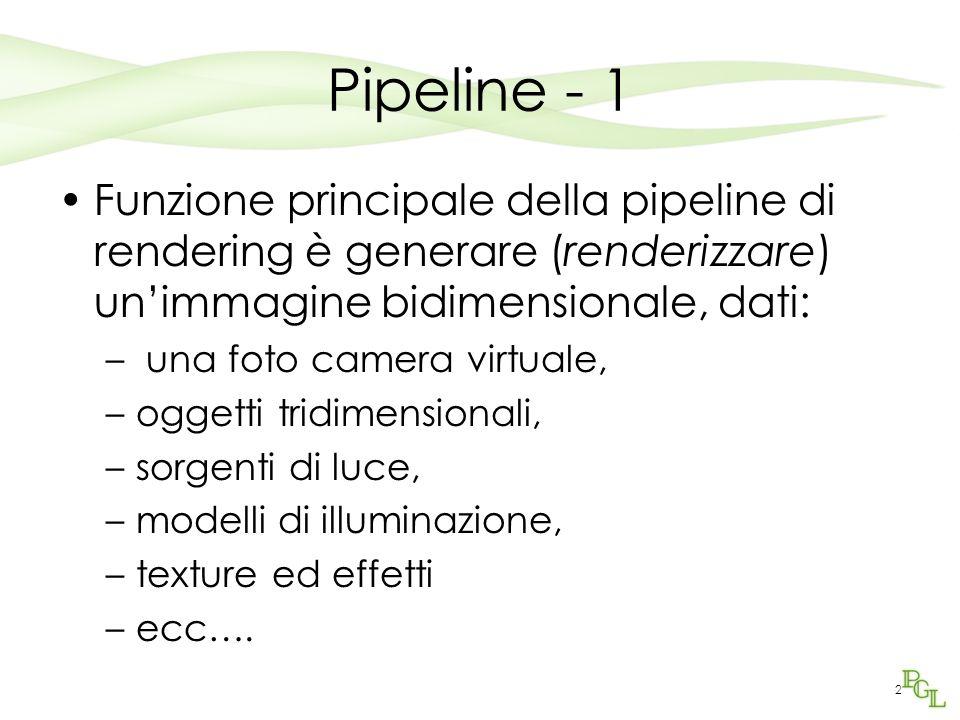 2 Pipeline - 1 Funzione principale della pipeline di rendering è generare (renderizzare) unimmagine bidimensionale, dati: – una foto camera virtuale, –oggetti tridimensionali, –sorgenti di luce, –modelli di illuminazione, –texture ed effetti –ecc….