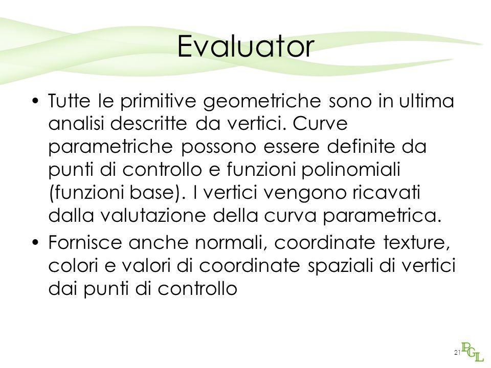 21 Evaluator Tutte le primitive geometriche sono in ultima analisi descritte da vertici.