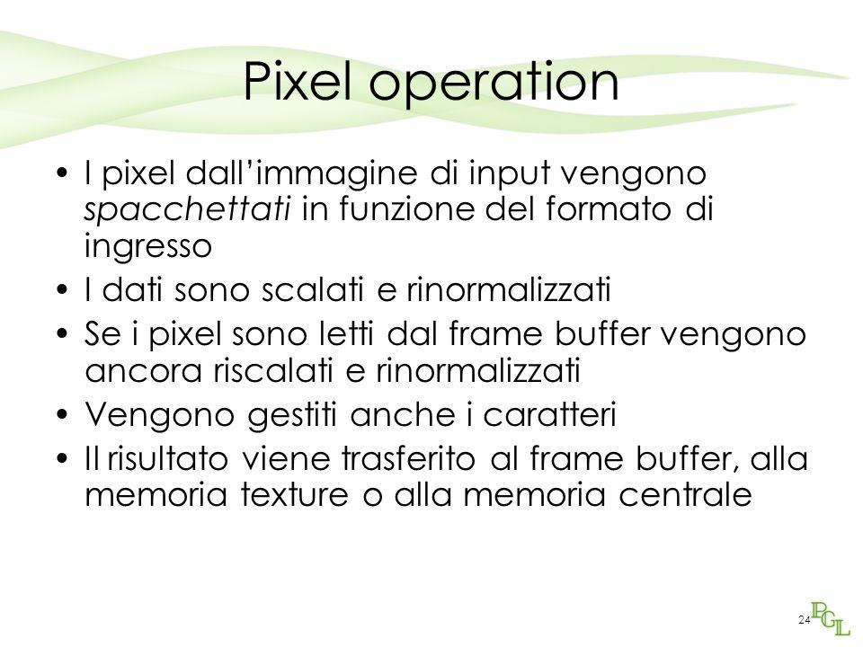 24 Pixel operation I pixel dallimmagine di input vengono spacchettati in funzione del formato di ingresso I dati sono scalati e rinormalizzati Se i pixel sono letti dal frame buffer vengono ancora riscalati e rinormalizzati Vengono gestiti anche i caratteri Il risultato viene trasferito al frame buffer, alla memoria texture o alla memoria centrale