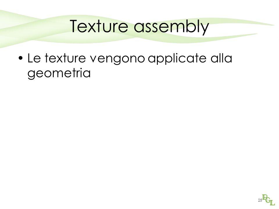 25 Texture assembly Le texture vengono applicate alla geometria