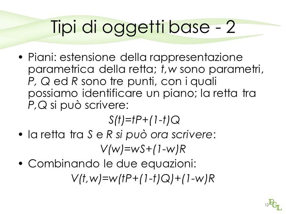 10 Tipi di oggetti base - 2 Piani: estensione della rappresentazione parametrica della retta; t,w sono parametri, P, Q ed R sono tre punti, con i qual