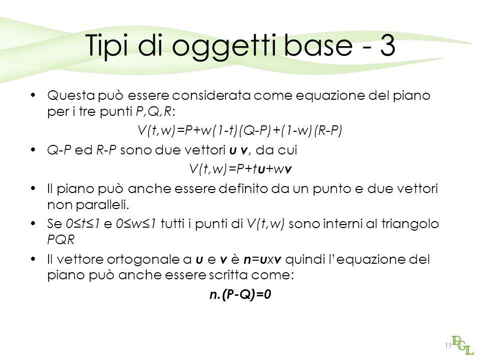 11 Tipi di oggetti base - 3 Questa può essere considerata come equazione del piano per i tre punti P,Q,R: V(t,w)=P+w(1-t)(Q-P)+(1-w)(R-P) Q-P ed R-P s