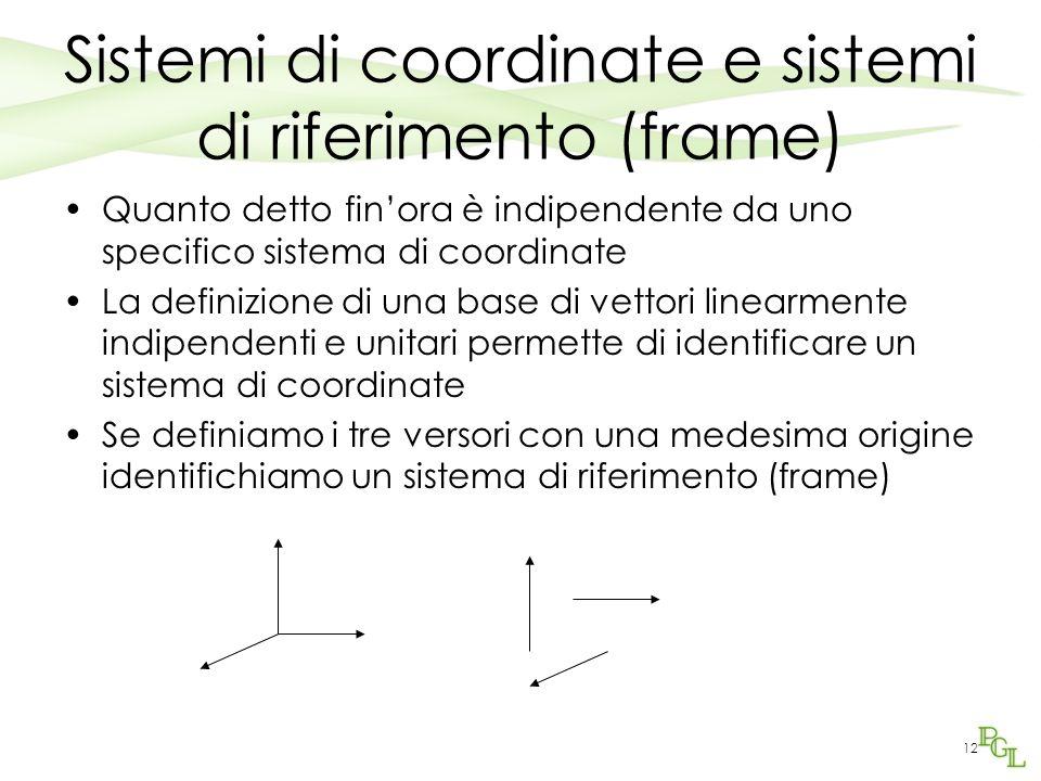 12 Sistemi di coordinate e sistemi di riferimento (frame) Quanto detto finora è indipendente da uno specifico sistema di coordinate La definizione di
