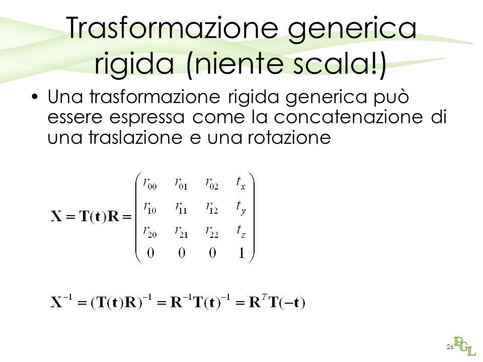 26 Trasformazione generica rigida (niente scala!) Una trasformazione rigida generica può essere espressa come la concatenazione di una traslazione e u