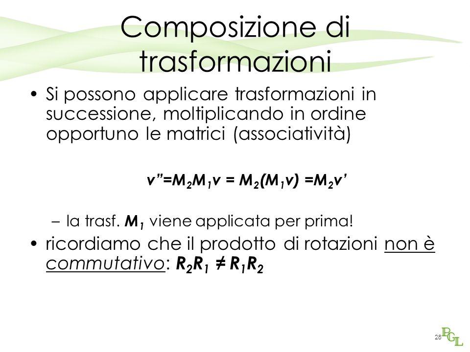 28 Composizione di trasformazioni Si possono applicare trasformazioni in successione, moltiplicando in ordine opportuno le matrici (associatività) v=M