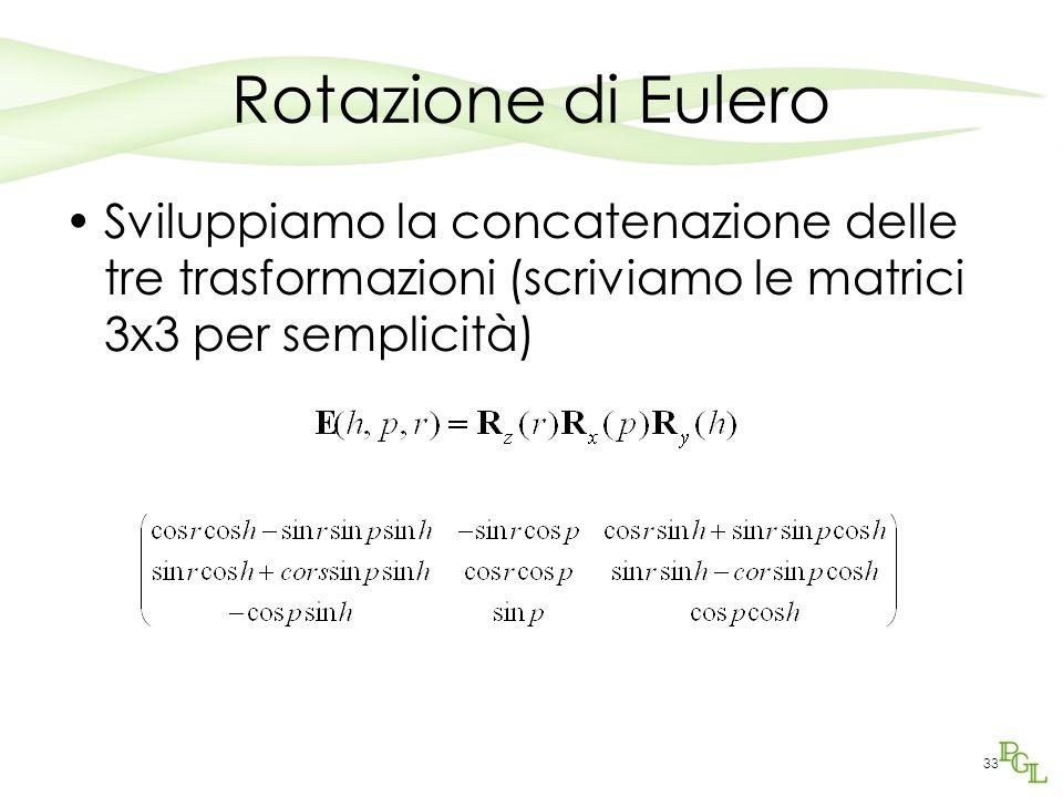 33 Rotazione di Eulero Sviluppiamo la concatenazione delle tre trasformazioni (scriviamo le matrici 3x3 per semplicità)