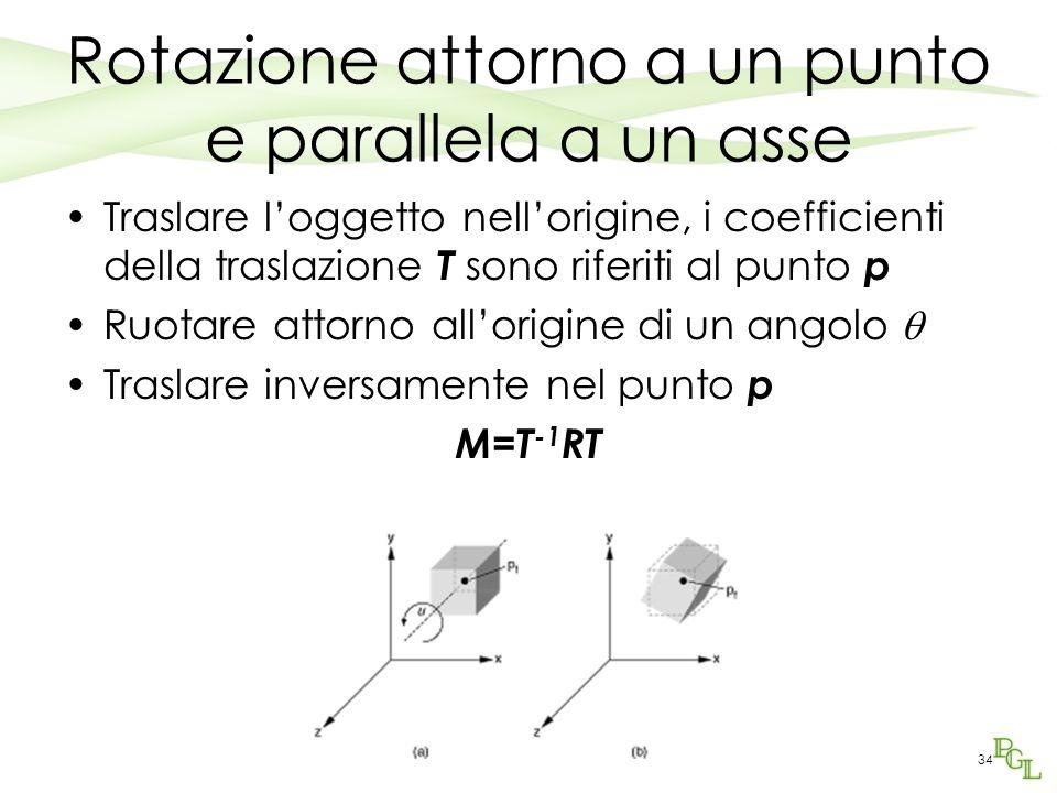 34 Rotazione attorno a un punto e parallela a un asse Traslare loggetto nellorigine, i coefficienti della traslazione T sono riferiti al punto p Ruota