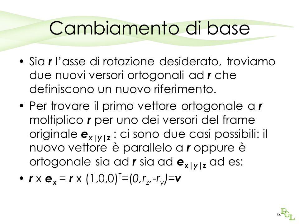 36 Cambiamento di base Sia r lasse di rotazione desiderato, troviamo due nuovi versori ortogonali ad r che definiscono un nuovo riferimento. Per trova
