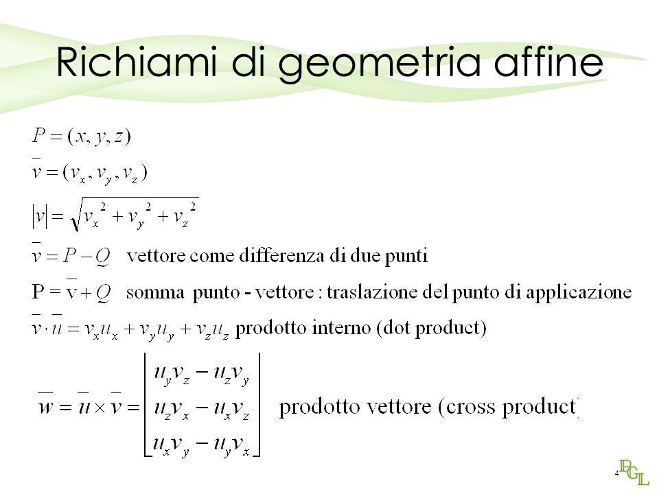 15 Cambiamenti di riferimento Questi cambiamenti di riferimento lasciano invariata lorigine: se vogliamo traslare lorigine, non possiamo rappresentare il cambiamento con una matrice di 3x3 elementi.