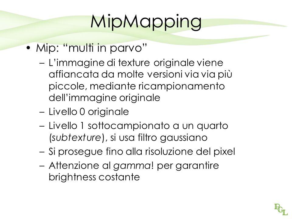 MipMapping Mip: multi in parvo –Limmagine di texture originale viene affiancata da molte versioni via via più piccole, mediante ricampionamento dellim
