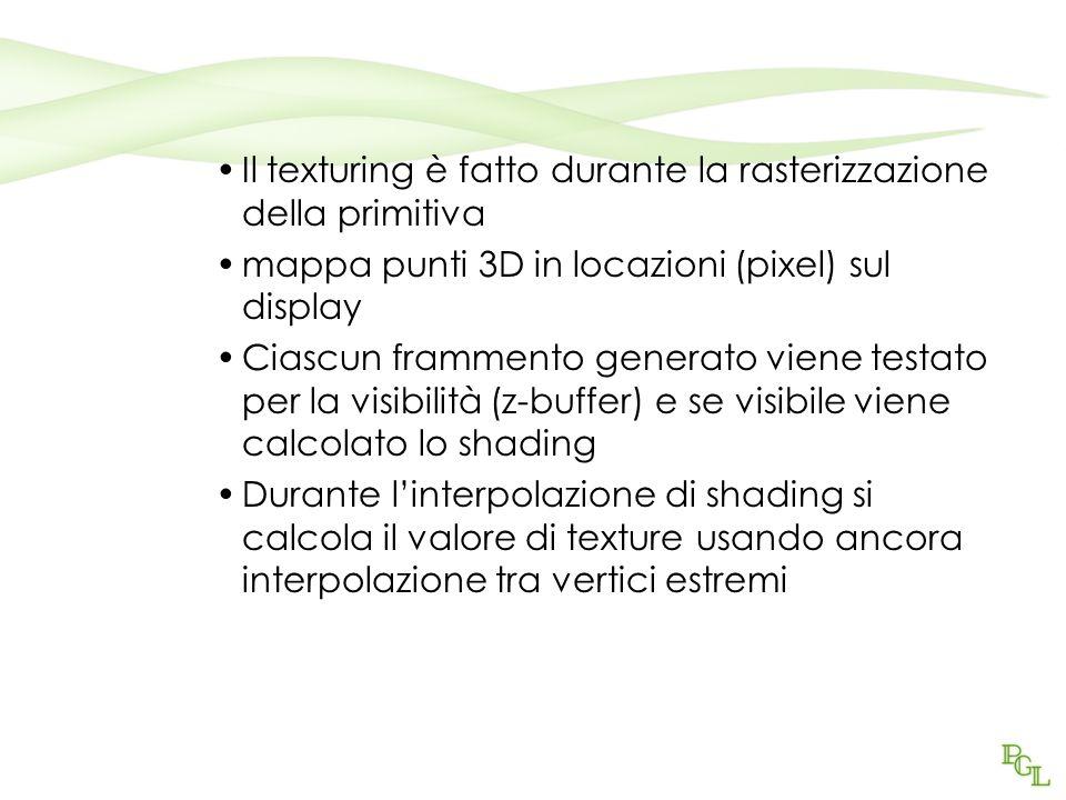 Il texturing è fatto durante la rasterizzazione della primitiva mappa punti 3D in locazioni (pixel) sul display Ciascun frammento generato viene testa
