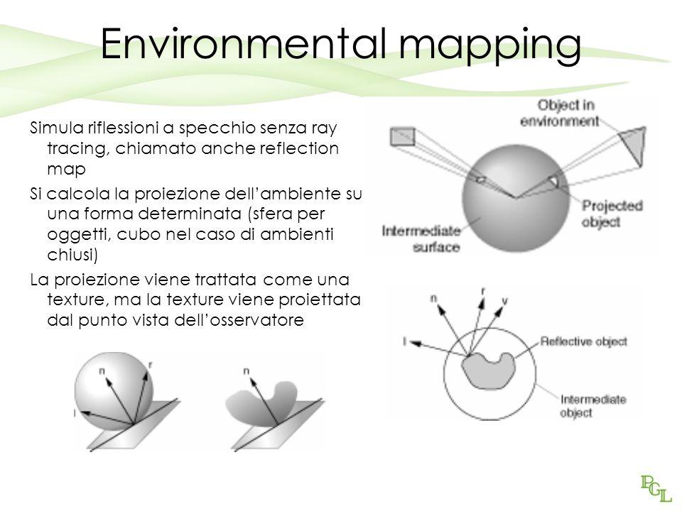 Environmental mapping Simula riflessioni a specchio senza ray tracing, chiamato anche reflection map Si calcola la proiezione dellambiente su una forma determinata (sfera per oggetti, cubo nel caso di ambienti chiusi) La proiezione viene trattata come una texture, ma la texture viene proiettata dal punto vista dellosservatore