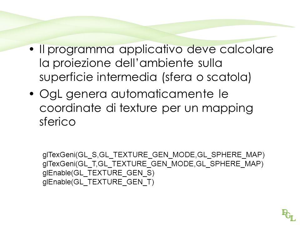 Il programma applicativo deve calcolare la proiezione dellambiente sulla superficie intermedia (sfera o scatola) OgL genera automaticamente le coordinate di texture per un mapping sferico glTexGeni(GL_S,GL_TEXTURE_GEN_MODE,GL_SPHERE_MAP) glTexGeni(GL_T,GL_TEXTURE_GEN_MODE,GL_SPHERE_MAP) glEnable(GL_TEXTURE_GEN_S) glEnable(GL_TEXTURE_GEN_T)