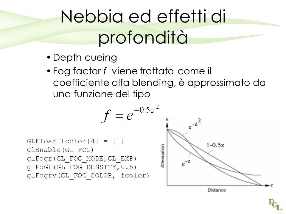 Nebbia ed effetti di profondità Depth cueing Fog factor f viene trattato come il coefficiente alfa blending, è approssimato da una funzione del tipo GLFloar fcolor[4] = […] glEnable(GL_FOG) glFogf(GL_FOG_MODE,GL_EXP) glFoGf(GL_FOG_DENSITY,0.5) glFogfv(GL_FOG_COLOR, fcolor)
