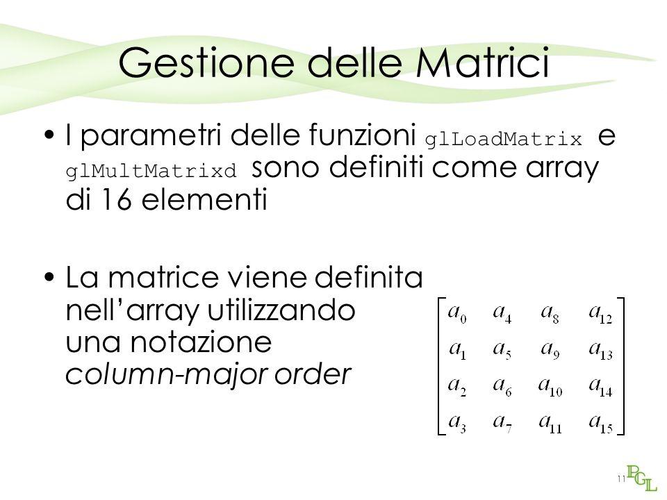 11 Gestione delle Matrici I parametri delle funzioni glLoadMatrix e glMultMatrixd sono definiti come array di 16 elementi La matrice viene definita ne