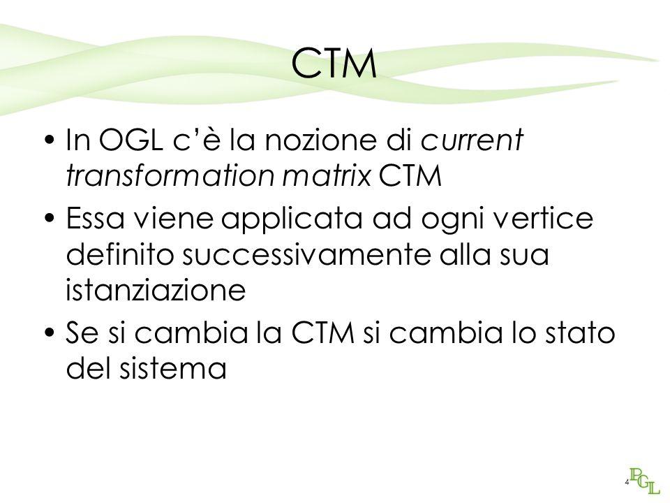 4 CTM In OGL cè la nozione di current transformation matrix CTM Essa viene applicata ad ogni vertice definito successivamente alla sua istanziazione S