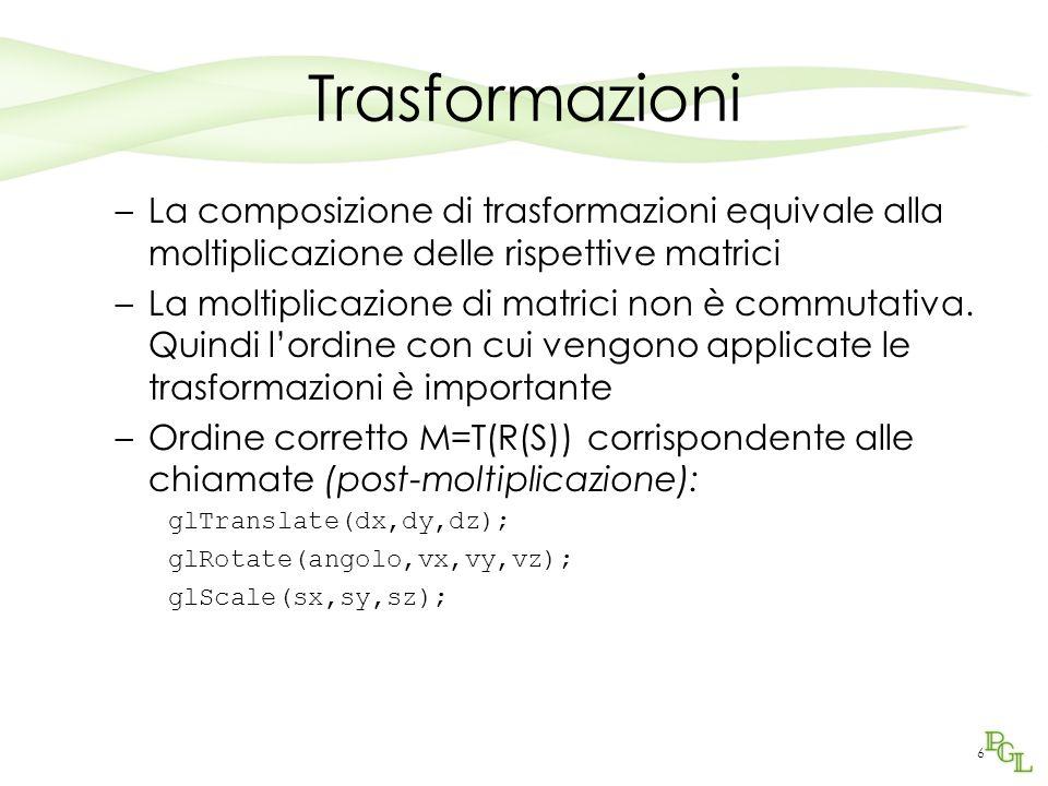 6 Trasformazioni –La composizione di trasformazioni equivale alla moltiplicazione delle rispettive matrici –La moltiplicazione di matrici non è commut