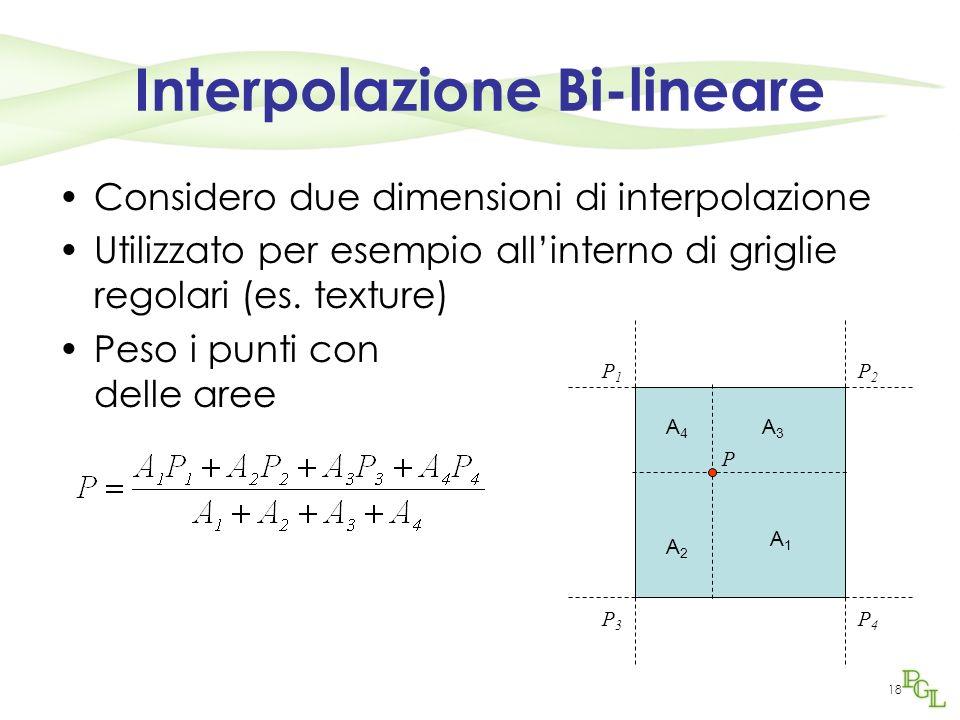 18 Interpolazione Bi-lineare Considero due dimensioni di interpolazione Utilizzato per esempio allinterno di griglie regolari (es. texture) Peso i pun