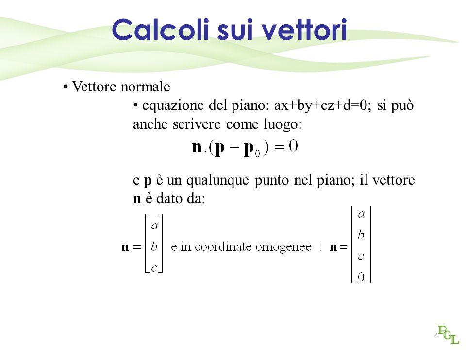 3 Calcoli sui vettori Vettore normale equazione del piano: ax+by+cz+d=0; si può anche scrivere come luogo: e p è un qualunque punto nel piano; il vett